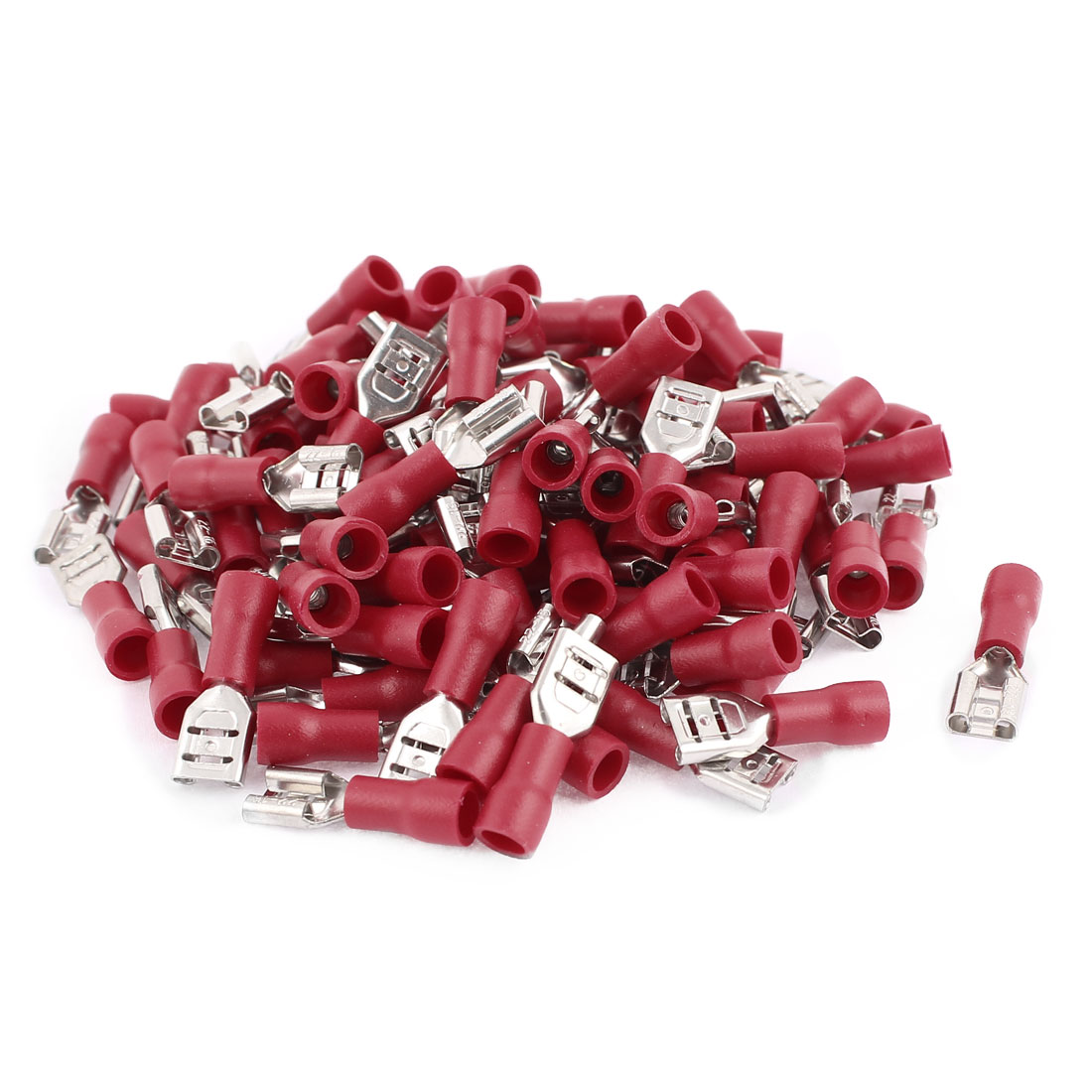 100pcs FDD1.25-205 0.5-1.5mm2 Wire Electric Power Female Insulated Terminal Red