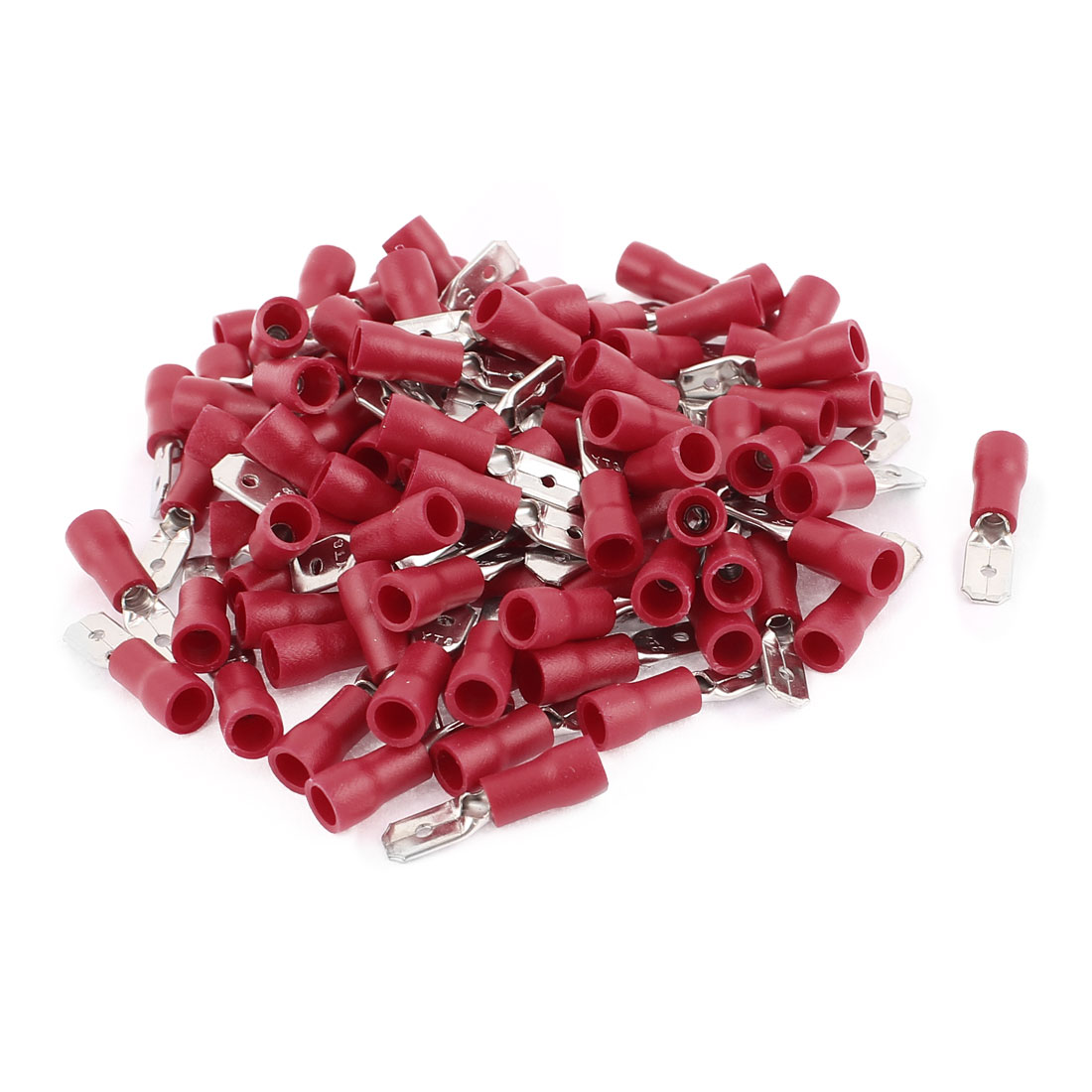 100Pcs MDD1.25-187(8) PVC Sleeve Insulating Crimp Terminals for 22-16 AWG