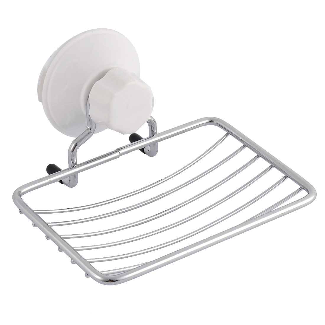 Home Bathroom Metal Wall Mounted Suction Cup Soap Rack Holder Dispenser Silver Tone