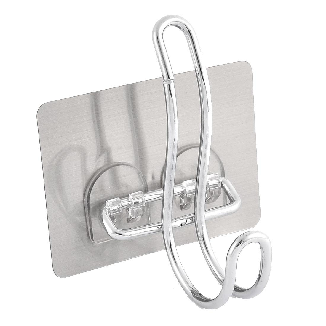 Home Bathroom Metal Self Adhesive Hat Towel Bag Clothes Hook Hanger Silver Tone