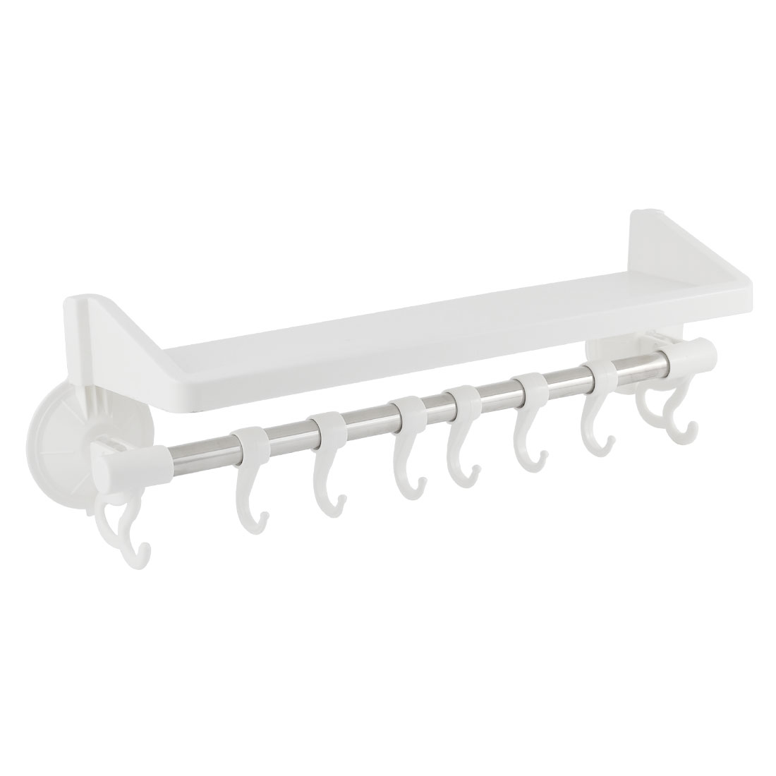 Kitchen Bathroom Plastic Suction Cup Clothes Towel Rack White Sliver Tone