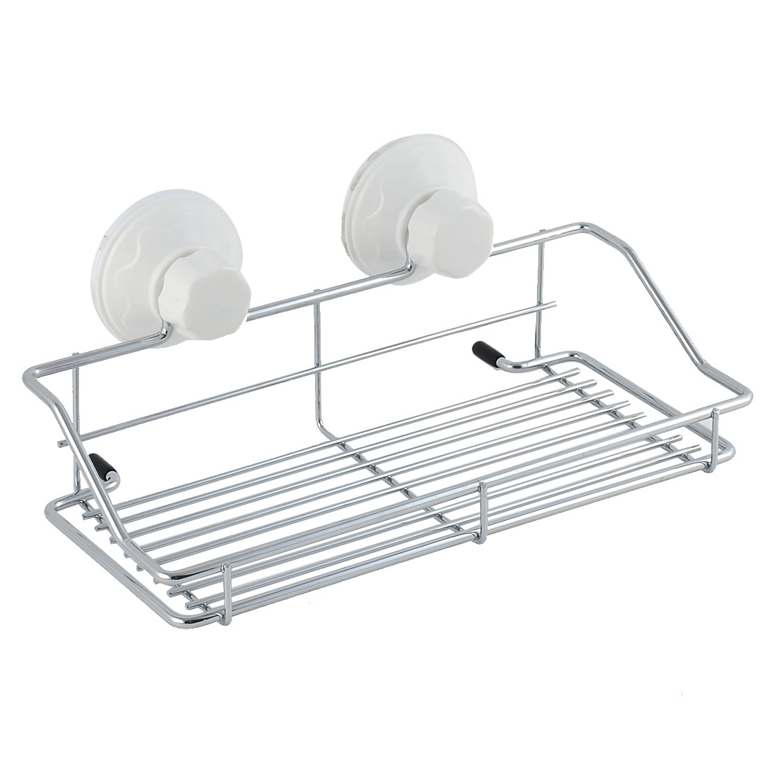 Household Bathroom Suction Cup Storage Shelf Holder Rack White Silver Tone