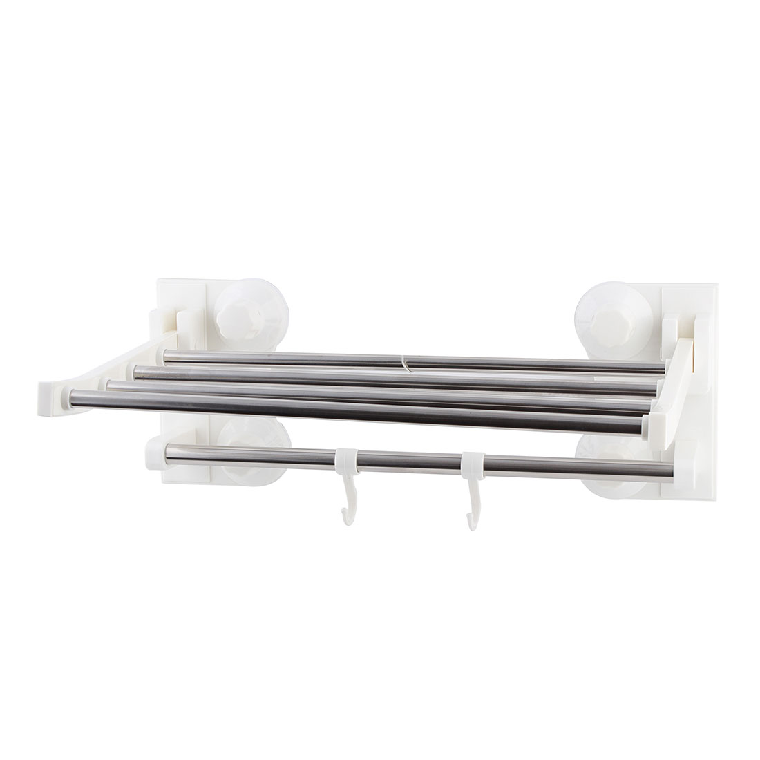 Bathroom Stainless Steel Wall Mount Suction Cup 5 Towels Rack Hanger Silver Tone