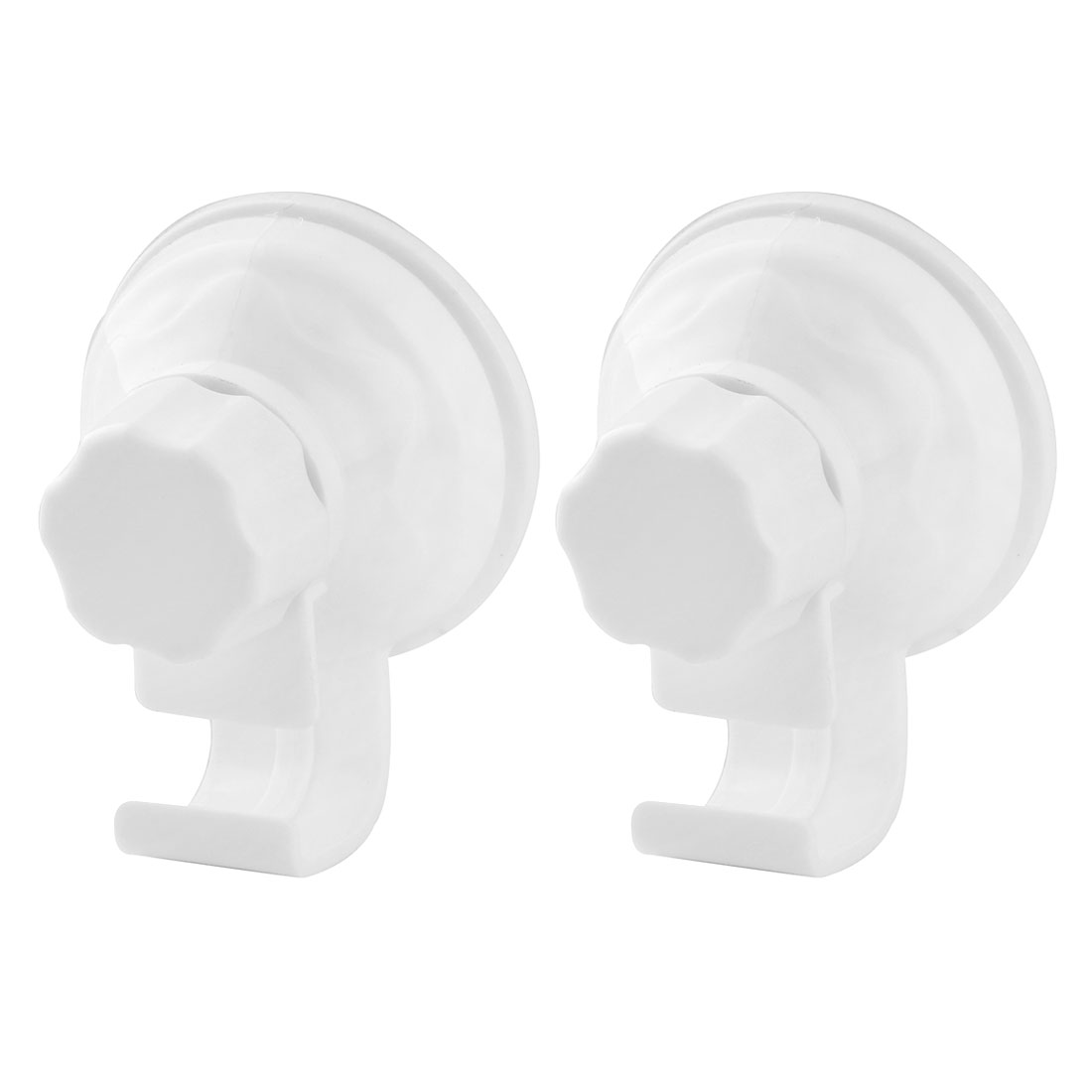 Home Bathroom Wall Mount Plastic Suction Cup Hook Hanger White 2 Pcs