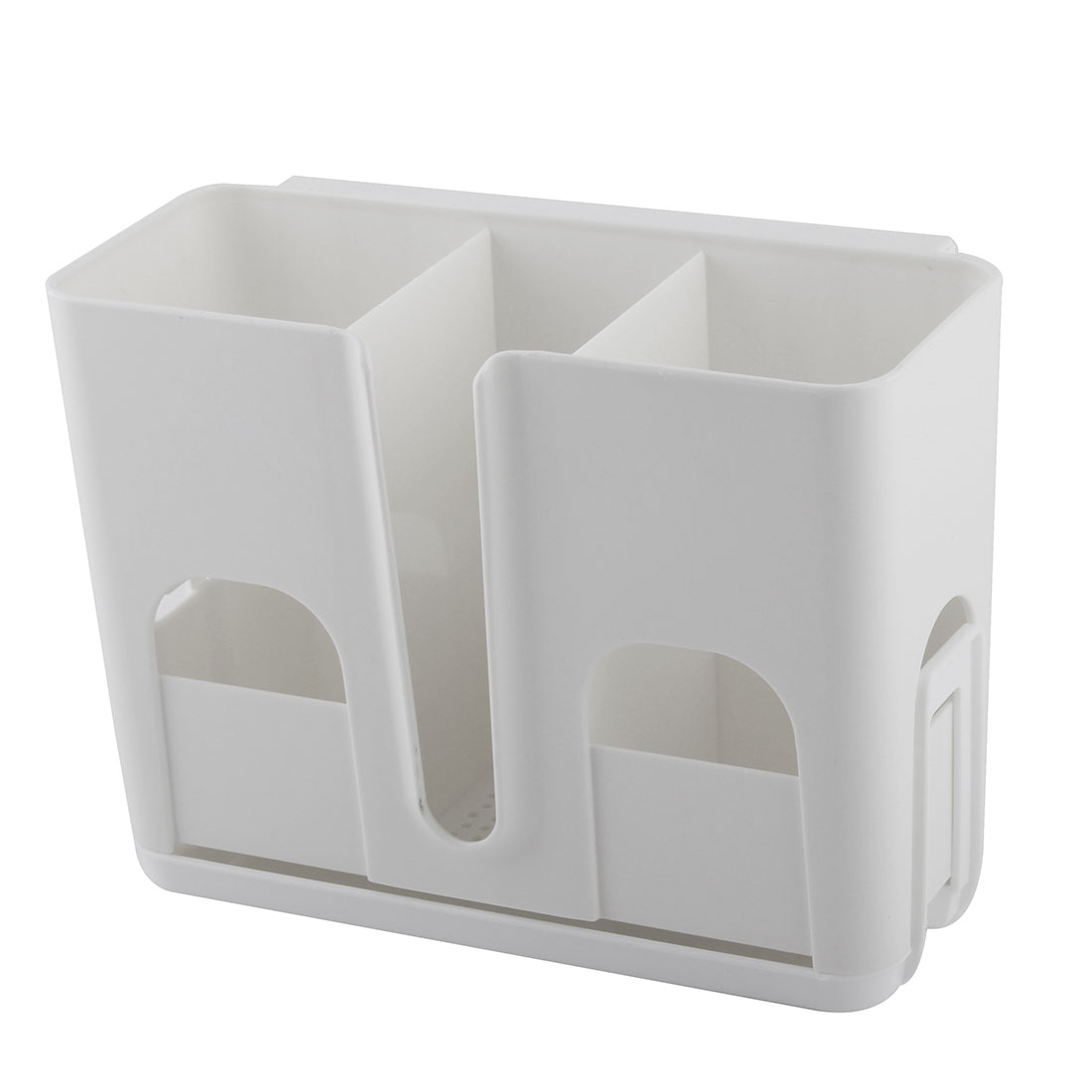 Houdehold Plastic 3 Compartments Wall Mount Suction Cup Hanging Storage Shelf White