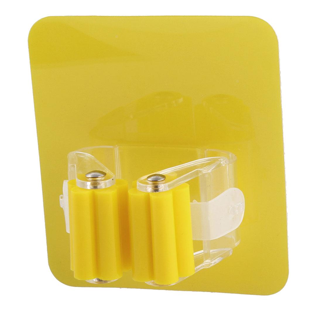 Bathroom Plastic Wall Mount Self-adhesive Broom Mop Storage Holder Clip Hook