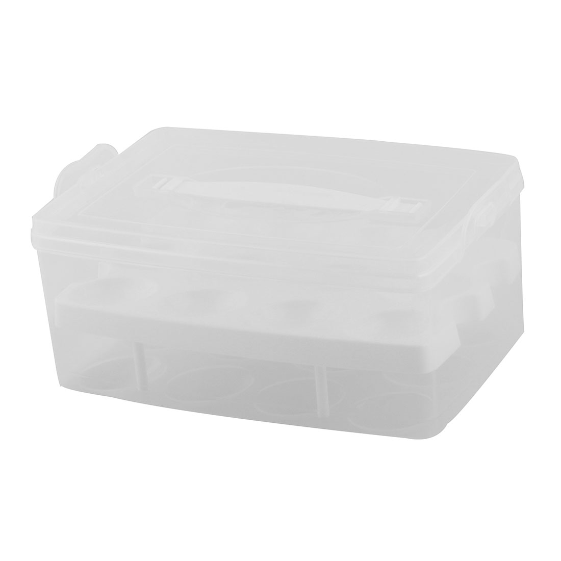 Kitchen Plastic Rectangle Shaped 12 Slots Eggs Storage Container Box Case