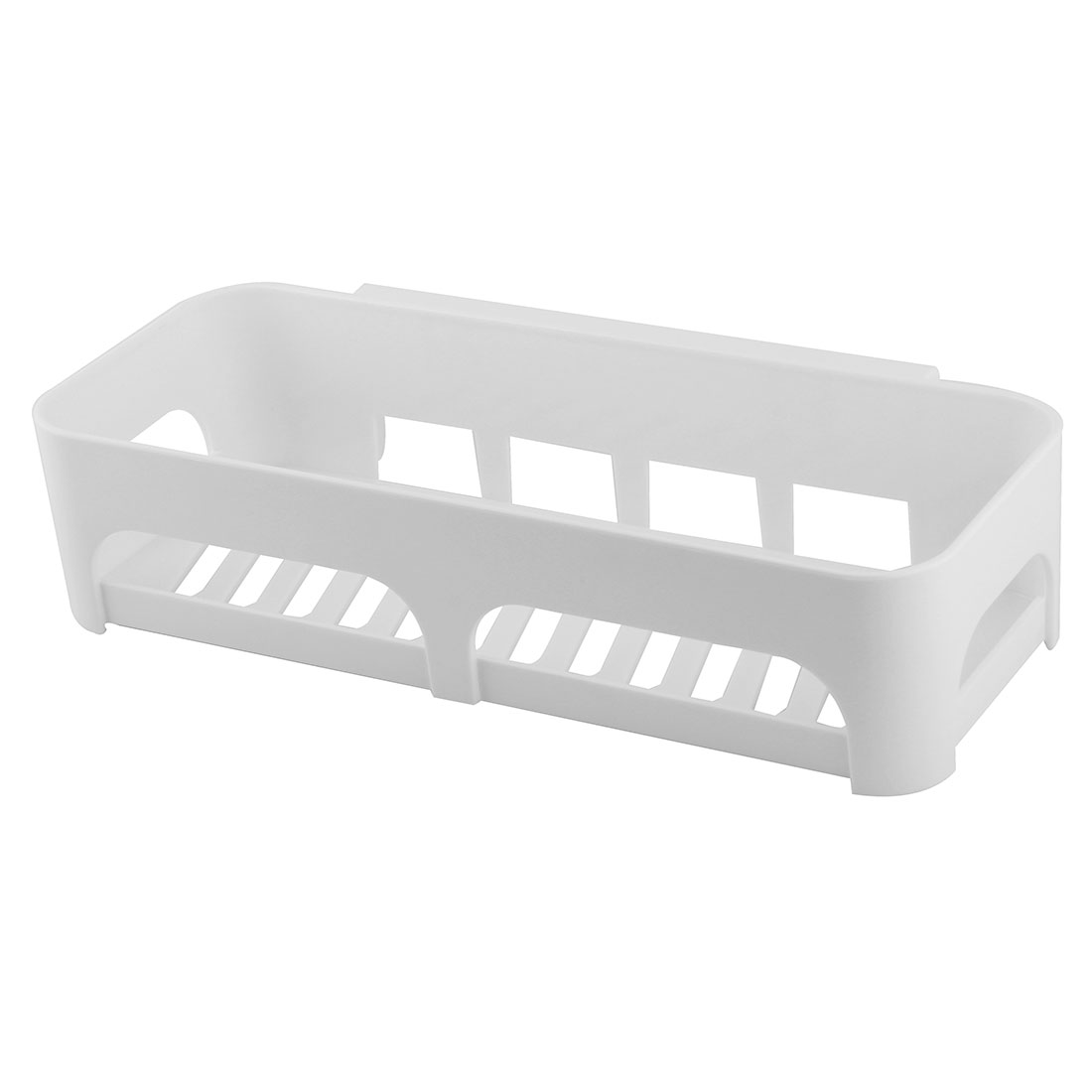 Household Plastic Hollow Out Design Self-adhesive Storage Rack Organizer White