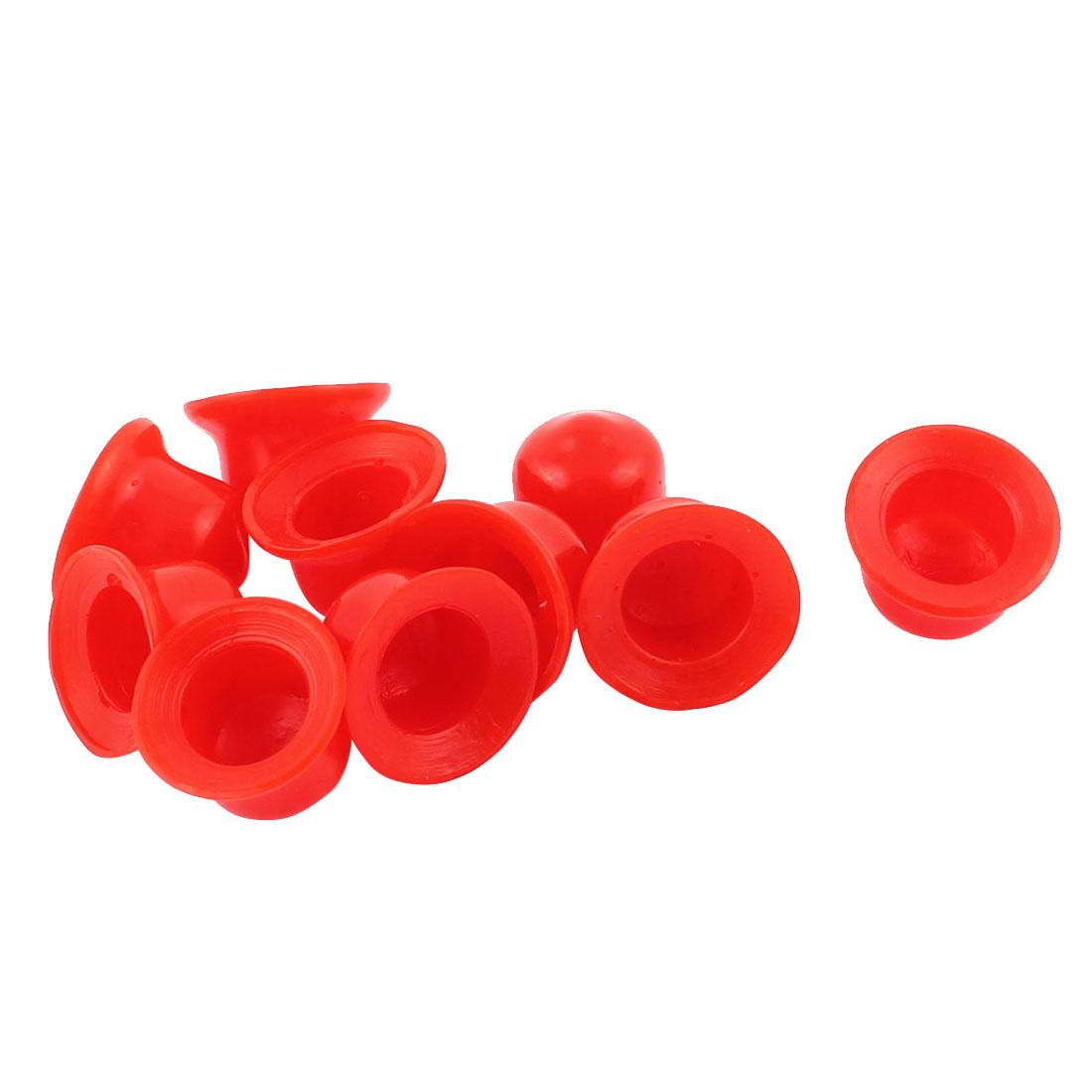 10 Pcs Red PVC End Cap Round 14mm Tubing Dustproof Tube Inserts