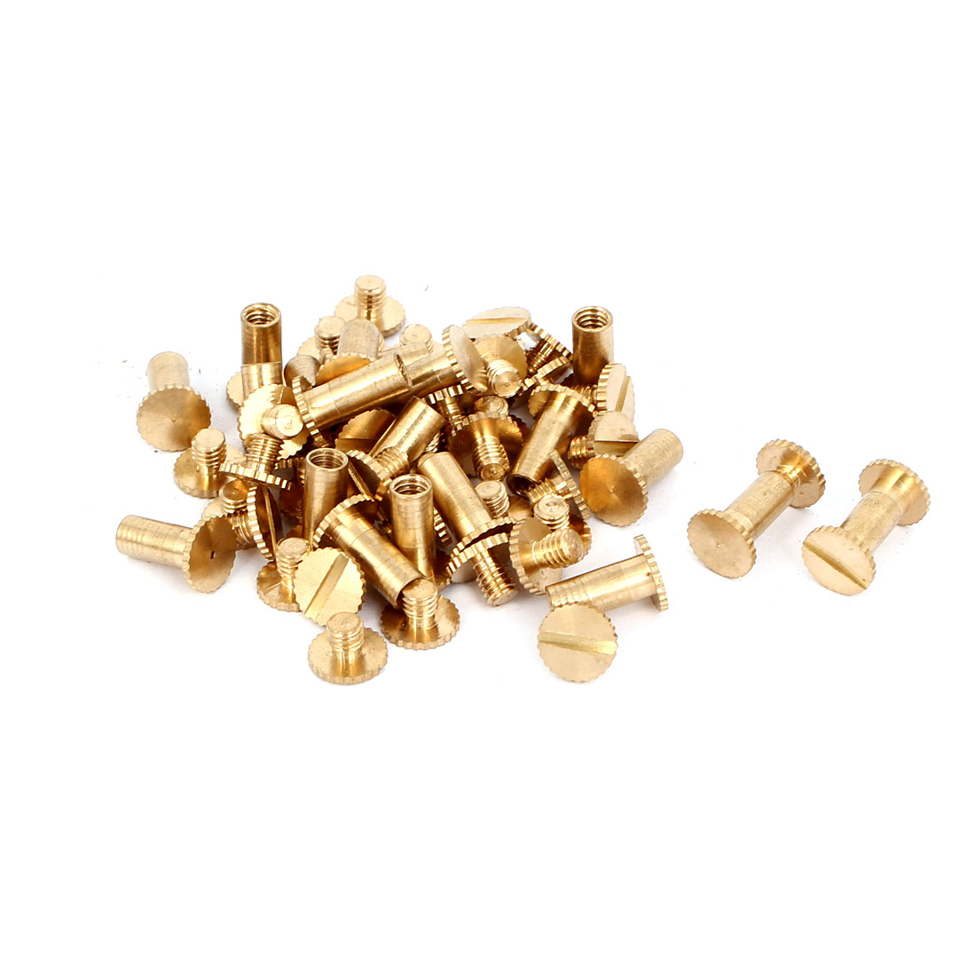 M5x10mm Photo Albums Scrapbook Slotted Knurling Brass Binding Screw Post 30 Pcs