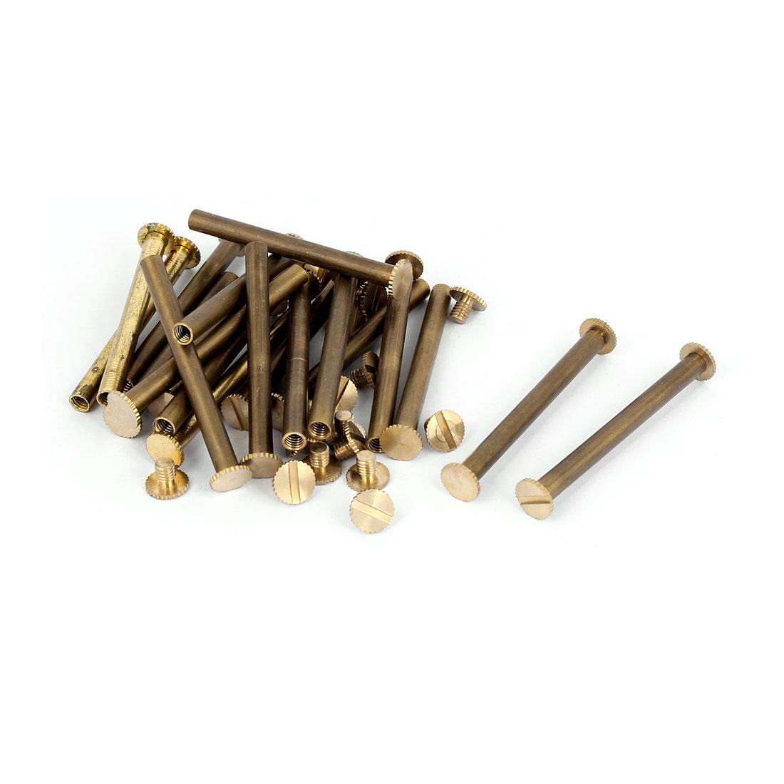 Purse Belts Scrapbooks Knurled Binding Chicago Screws Posts M5 x 50mm 20 Pcs