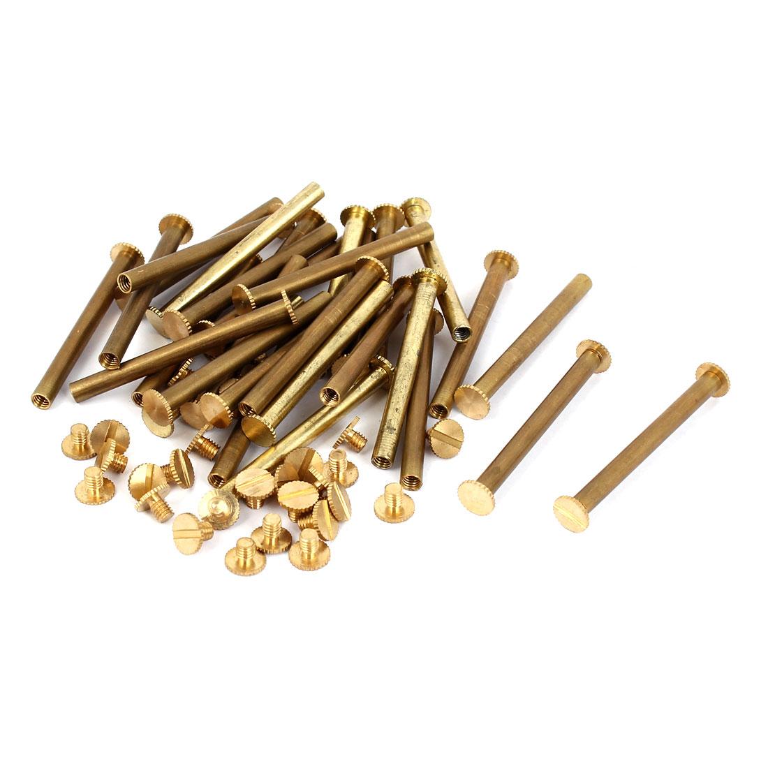 Purse Belts Scrapbooks Brass Knurled Binding Chicago Screws M5 x 50mm 30 Pcs