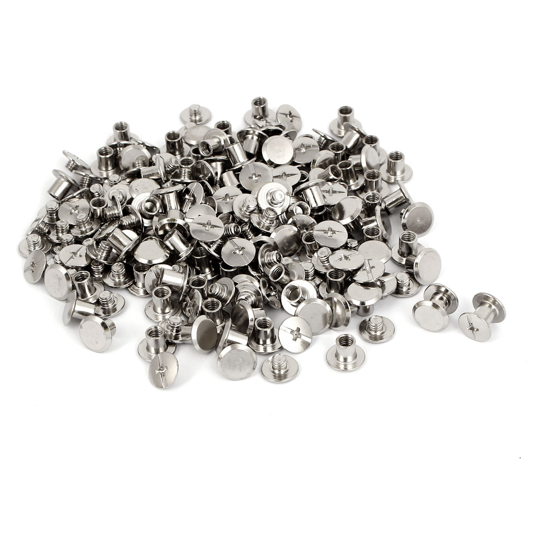 M5x5.5mm Photo Albums Scrapbook Metal Binding Screw Post Silver Tone 100 Pcs