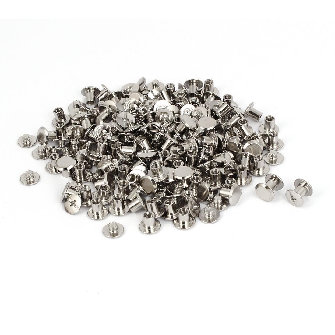M5x6mm Photo Albums Scrapbook Metal Binding Screw Post Silver Tone 100 Pcs