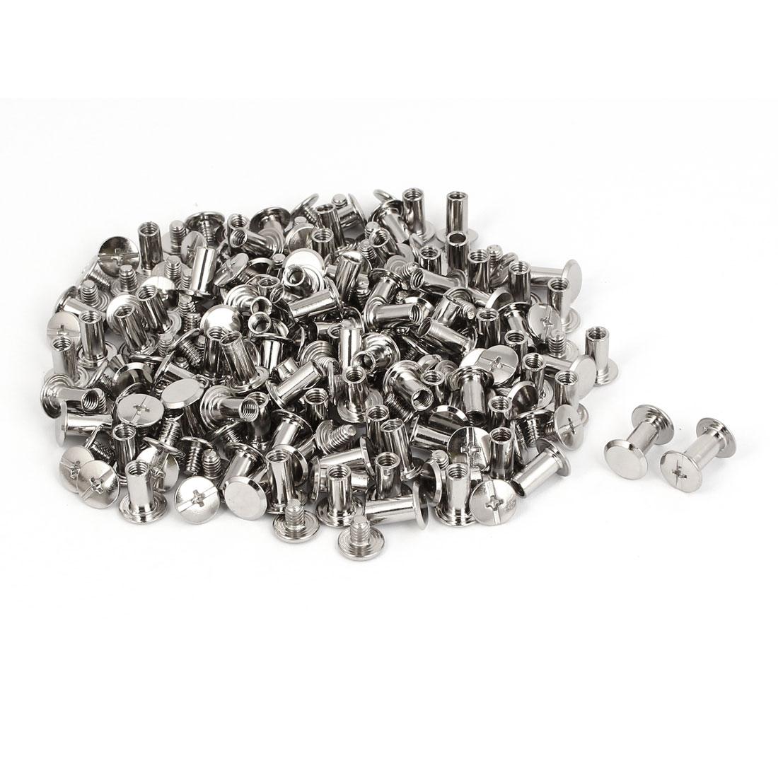 M5x10mm Photo Albums Scrapbook Metal Binding Screw Post Silver Tone 100 Pcs