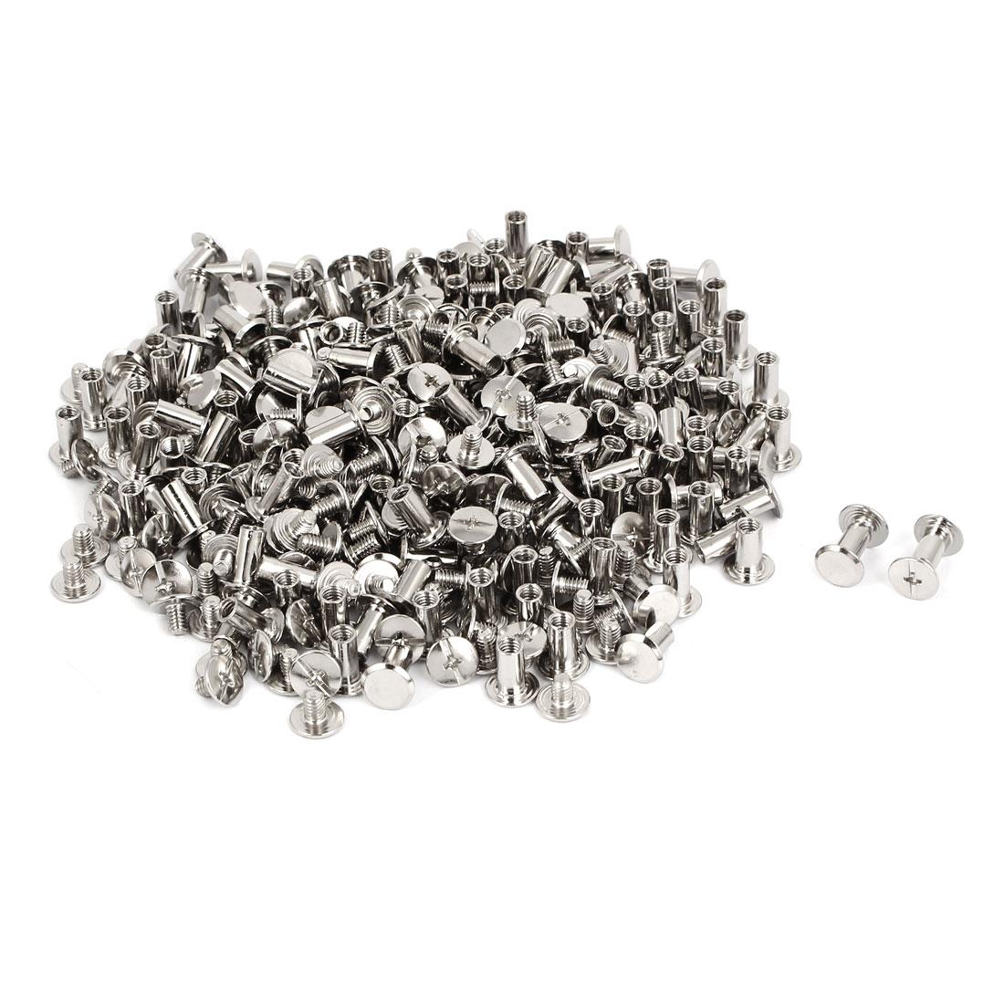 M5x10mm Photo Albums Scrapbook Metal Binding Screw Post Silver Tone 200 Pcs