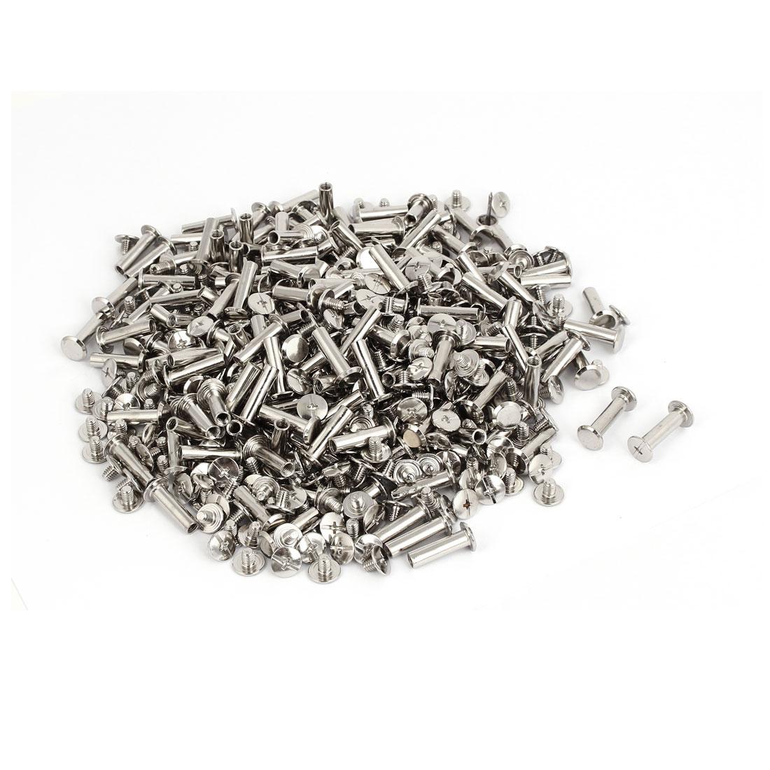 M5x18mm Photo Albums Scrapbook Metal Binding Screw Post Silver Tone 500 Pcs