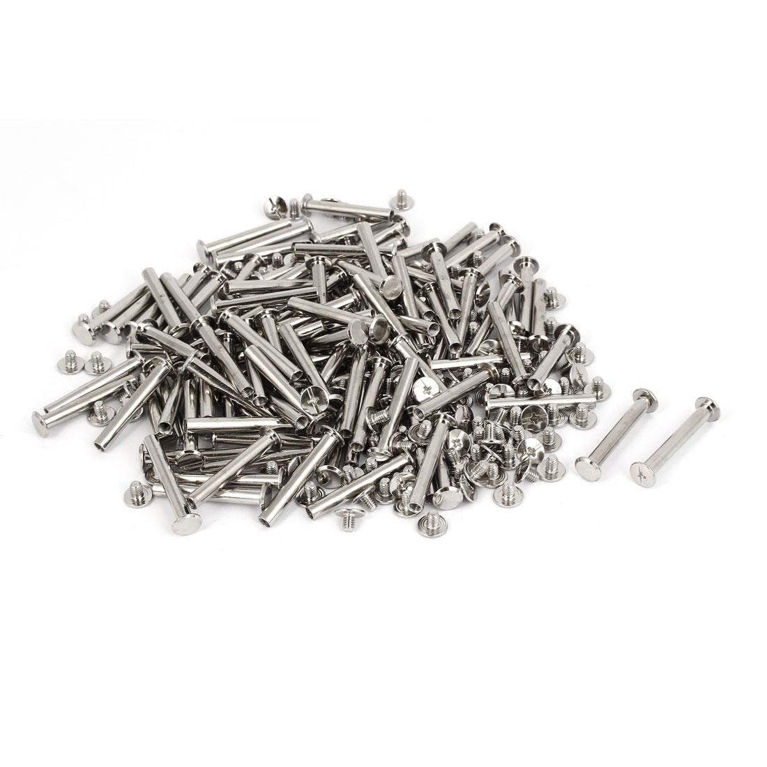 M5x35mm Photo Albums Scrapbook Metal Binding Screw Post Silver Tone 100 Pcs