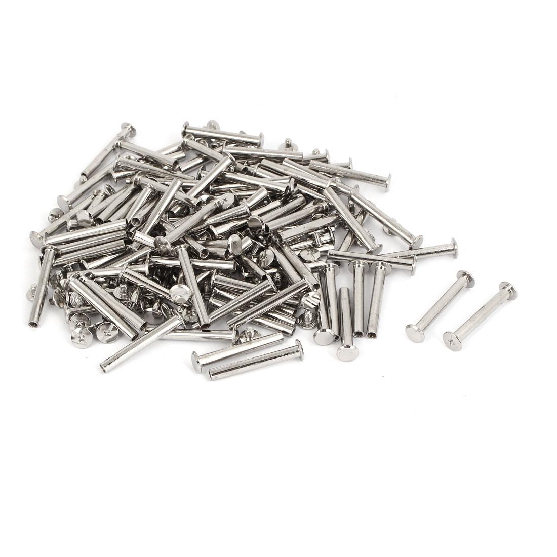 M5x38mm Leather Craft Belt Metal Nail Rivets Chicago Screws Binding Post 100pcs