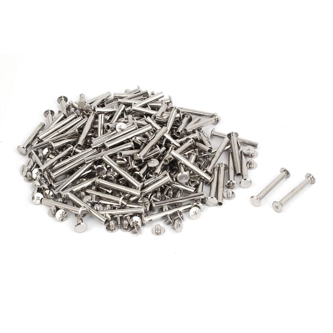 M5x38mm Leather Craft Belt Metal Nail Rivets Chicago Screws Binding Post 200pcs