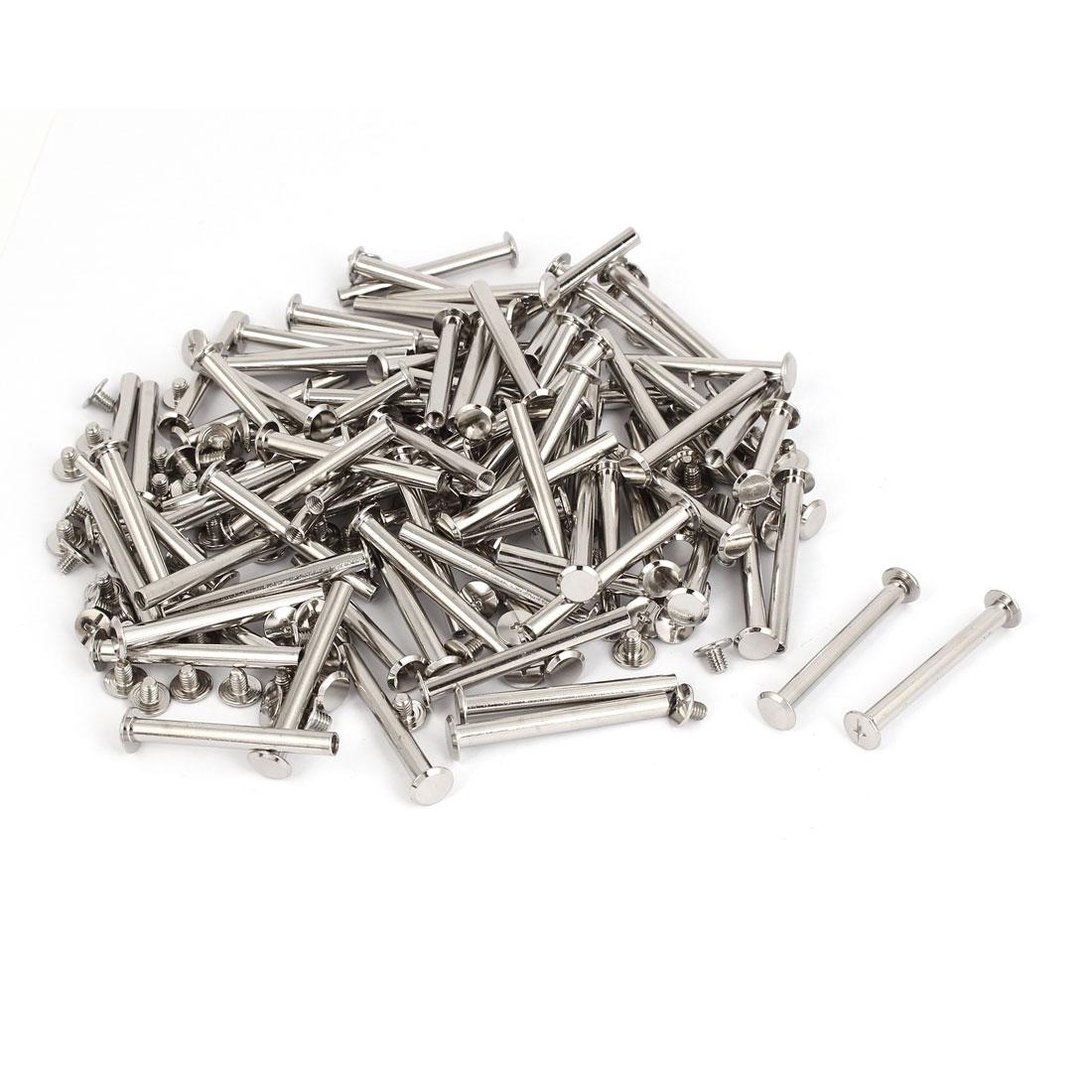M5x45mm Leather Craft Belt Metal Nail Rivets Chicago Screws Binding Post 100pcs