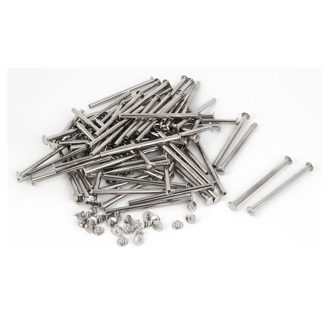 Scrapbook Photo Albums Binding Screws Posts Silver Tone M5 x 75mm 100 Pcs