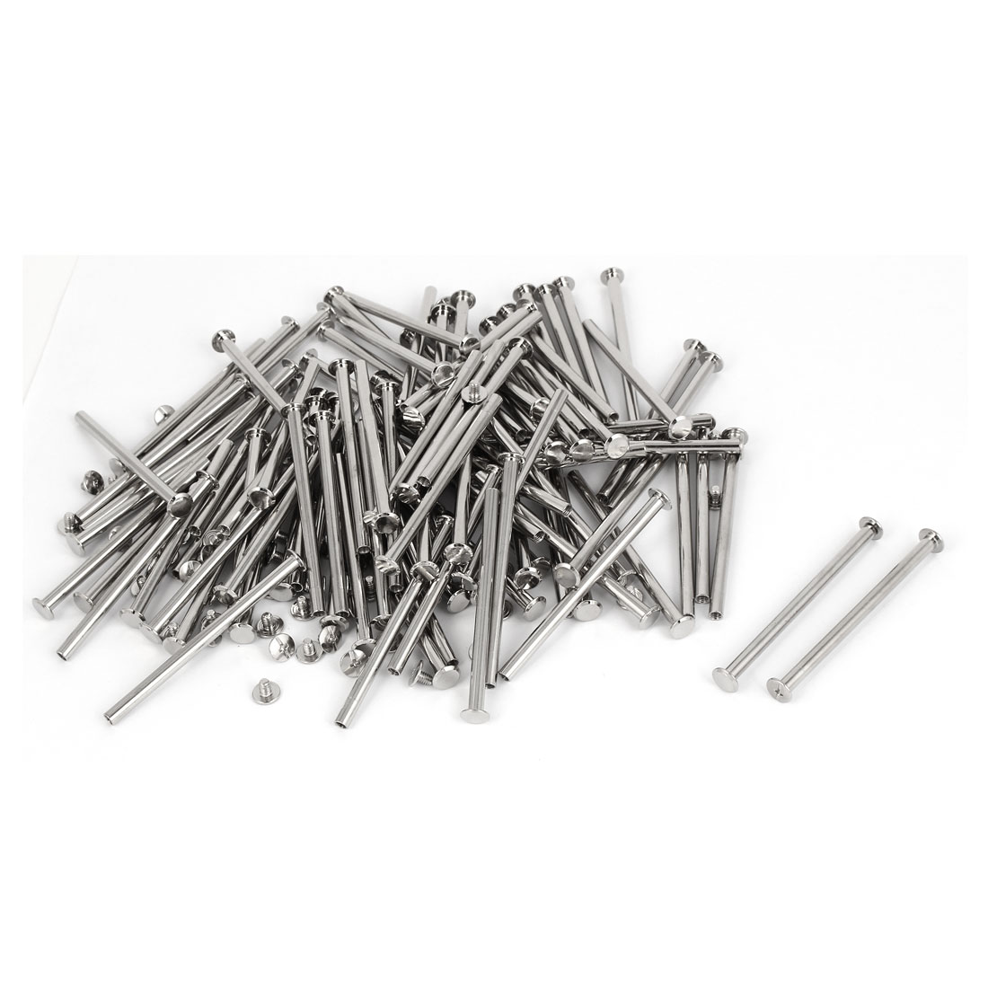 M5 x 80mm Metal Scrapbook Catalogs Binding Chicago Screws Posts 100 Pcs