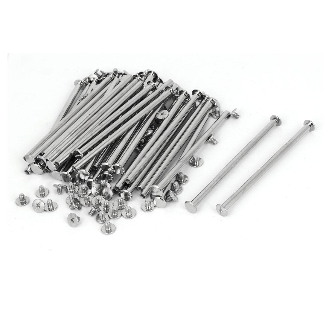 M5 x 100mm Photo Albums Aluminum Binding Screw Post Silver Tone 30pcs