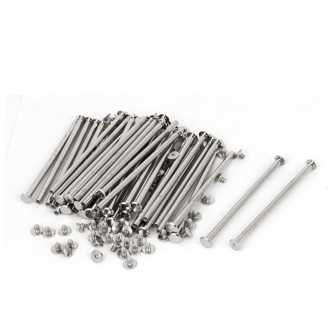 M5 x 100mm Photo Albums Aluminum Binding Screw Post Silver Tone 50pcs