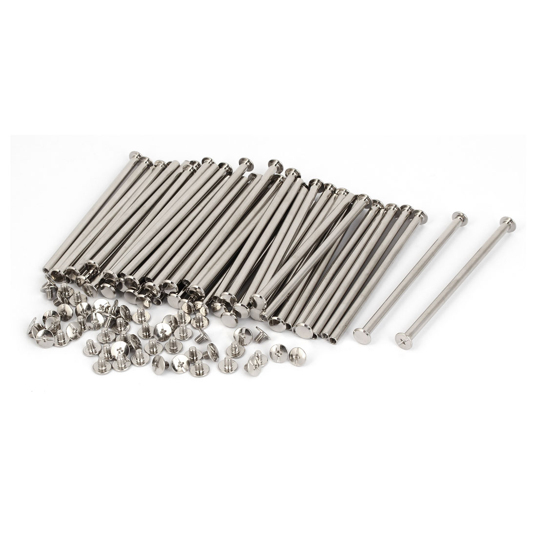 M5 x 105mm Books Albums Binding Chicago Screws Posts Silver Tone 100 Pcs