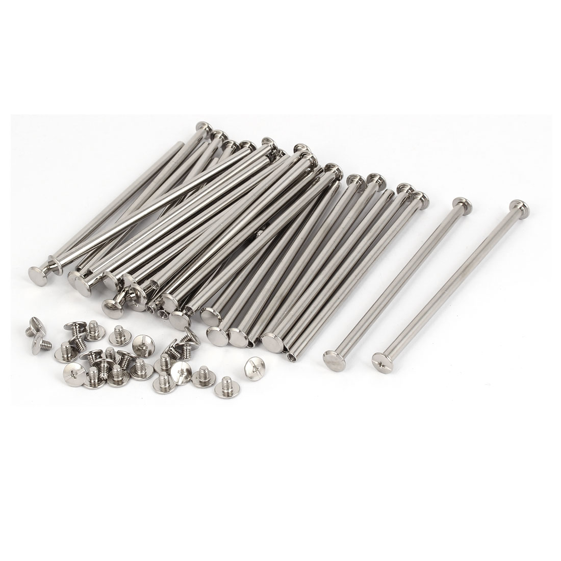 M5 x 108mm Metal Binding Chicago Screws Posts Silver Tone 30 Pcs