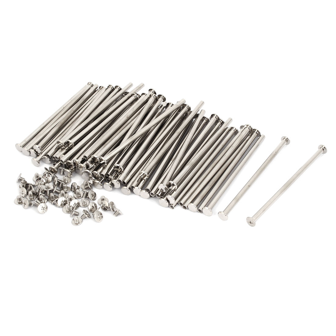 M5x110mm Leather Craft Belt Metal Nail Rivets Chicago Screws Binding Post 100pcs