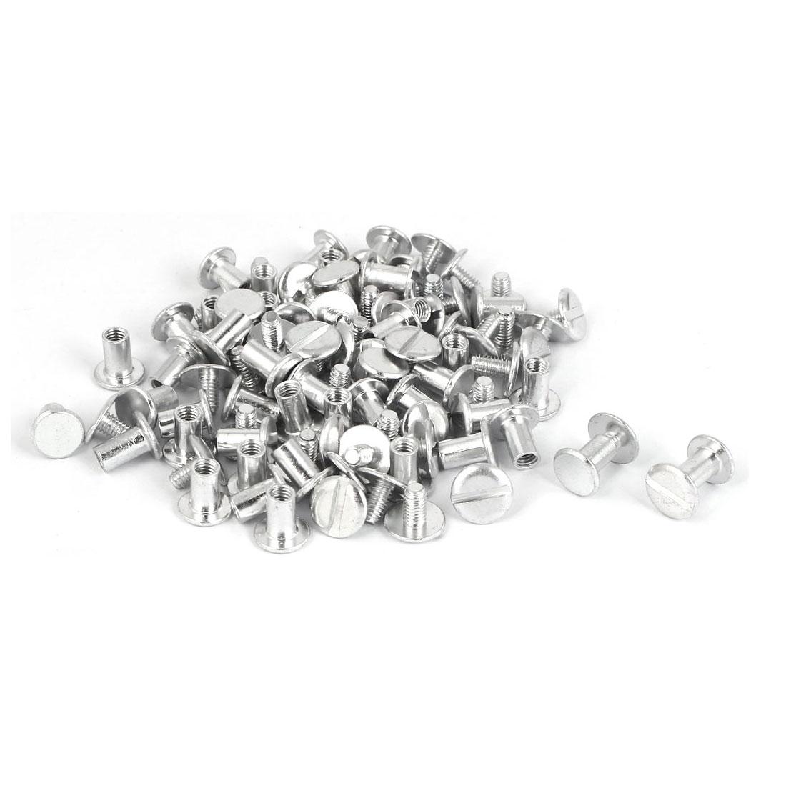 Purse Belts Scrapbooks Binding Chicago Screws Posts Silver Tone M5 x 8mm 200 Pcs