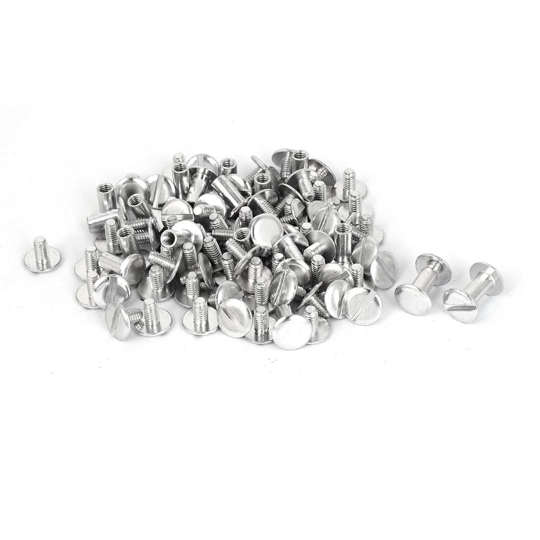 M5x10mm Aluminum Chicago Screws Binding Posts Silver Tone 50pcs