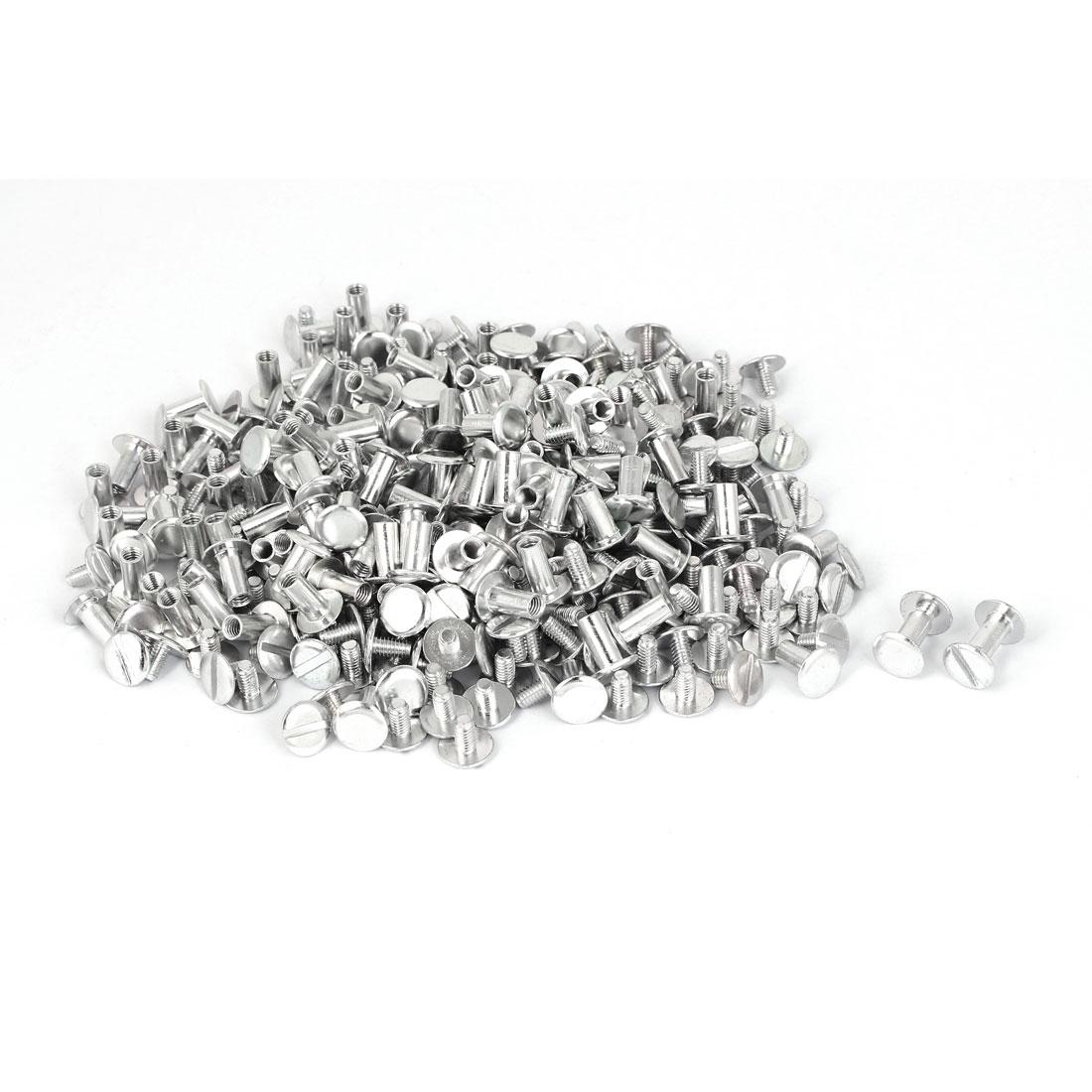 M5x10mm Aluminum Chicago Screws Binding Posts Silver Tone 200pcs