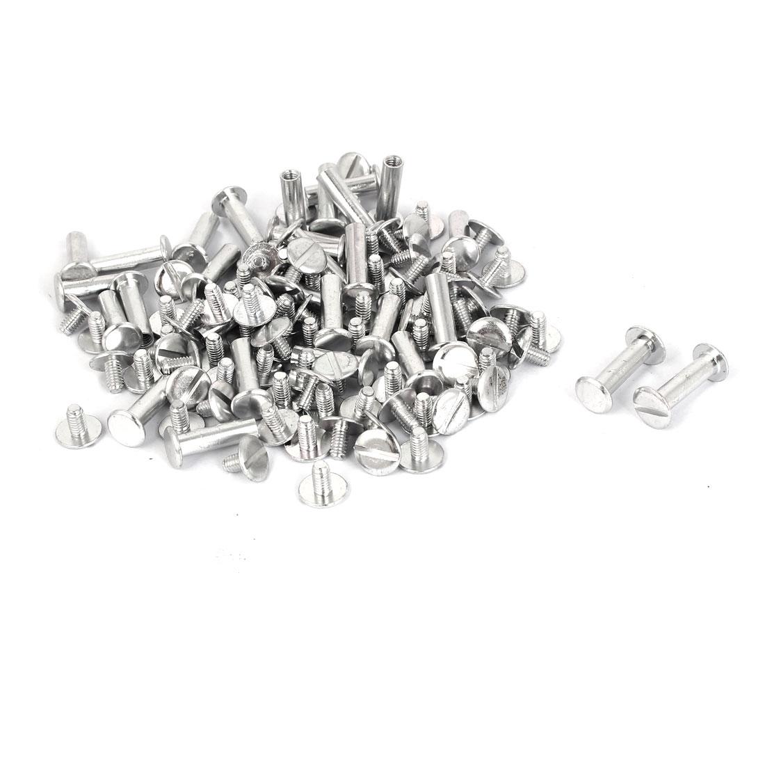 M5x18mm Aluminum Chicago Screws Binding Posts Silver Tone 50pcs