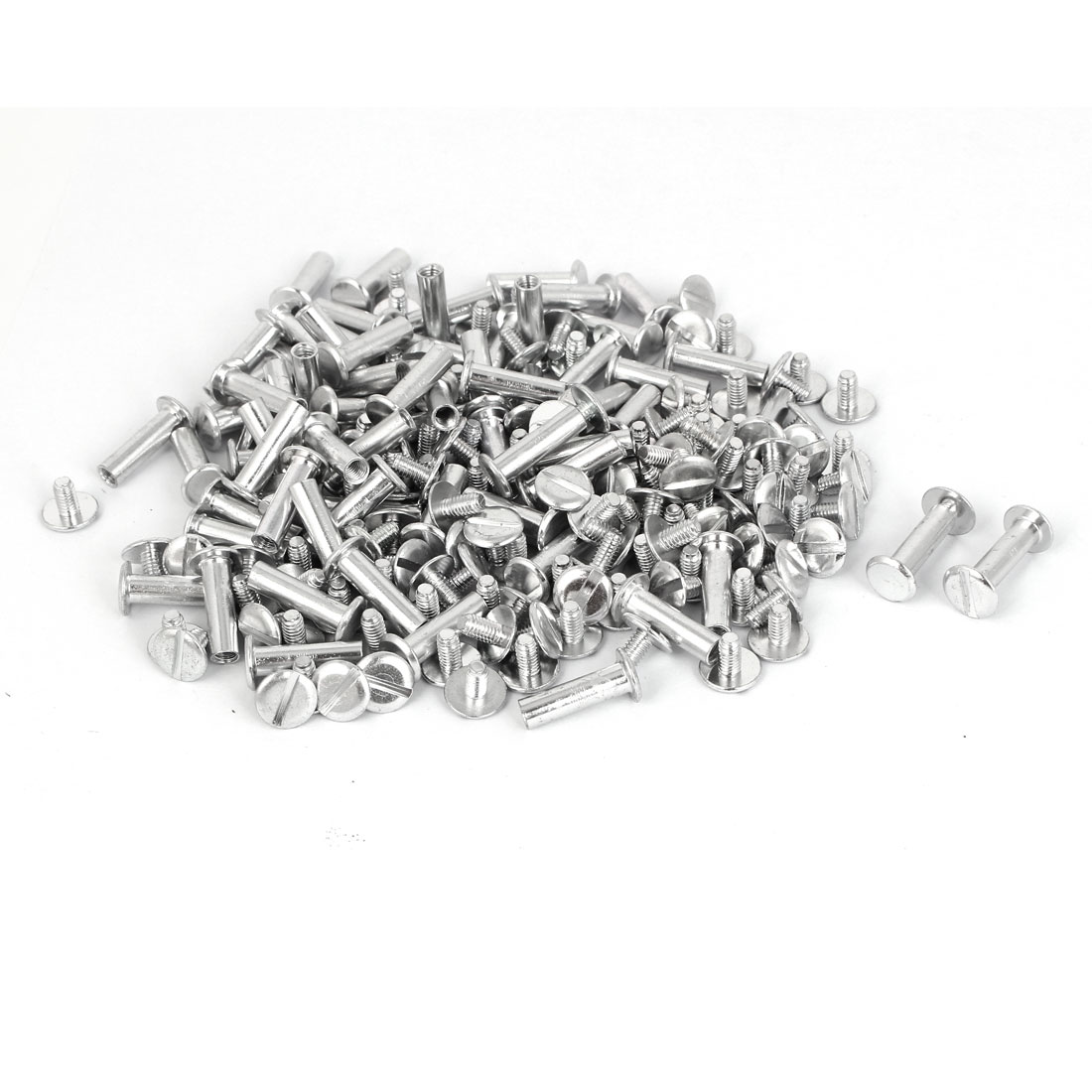M5x18mm Aluminum Chicago Screws Binding Posts Silver Tone 100pcs