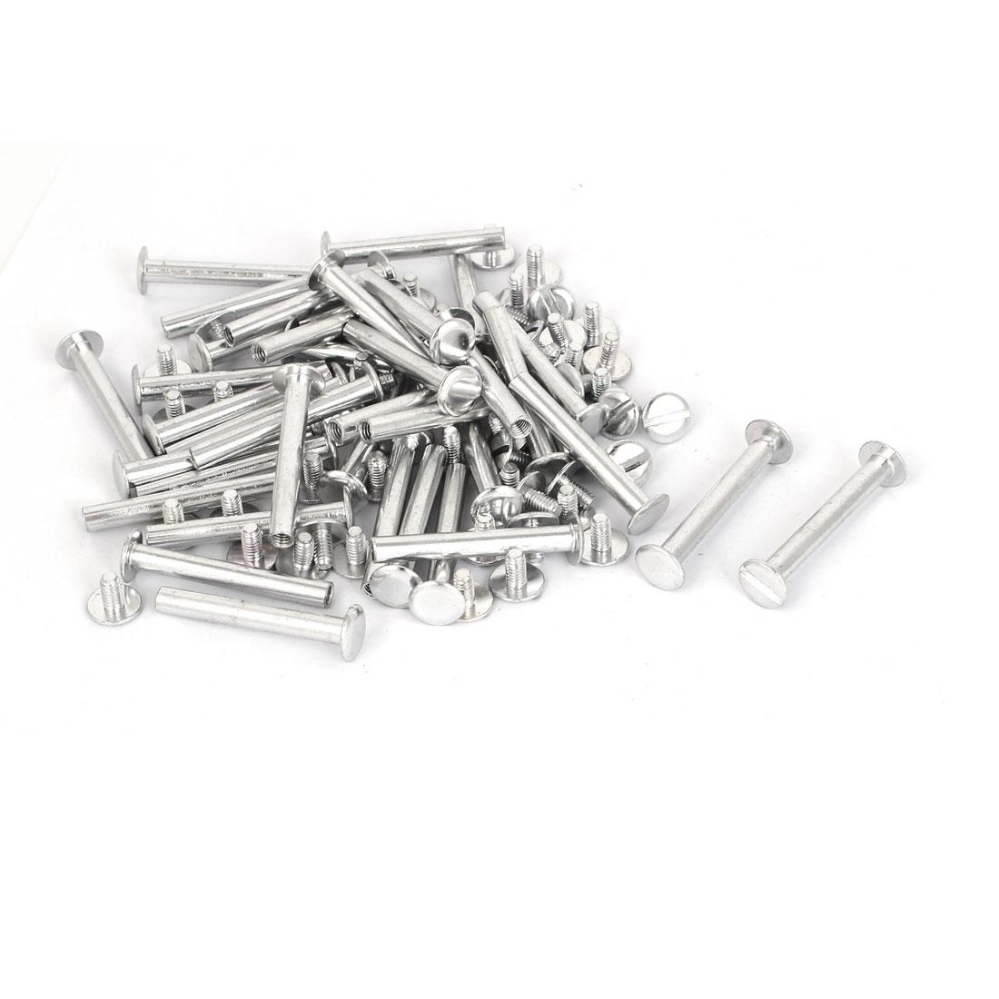 M5x38mm Aluminum Chicago Screws Binding Posts Silver Tone 50pcs