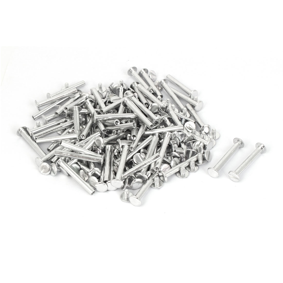 M5x38mm Aluminum Chicago Screws Binding Posts Silver Tone 100pcs