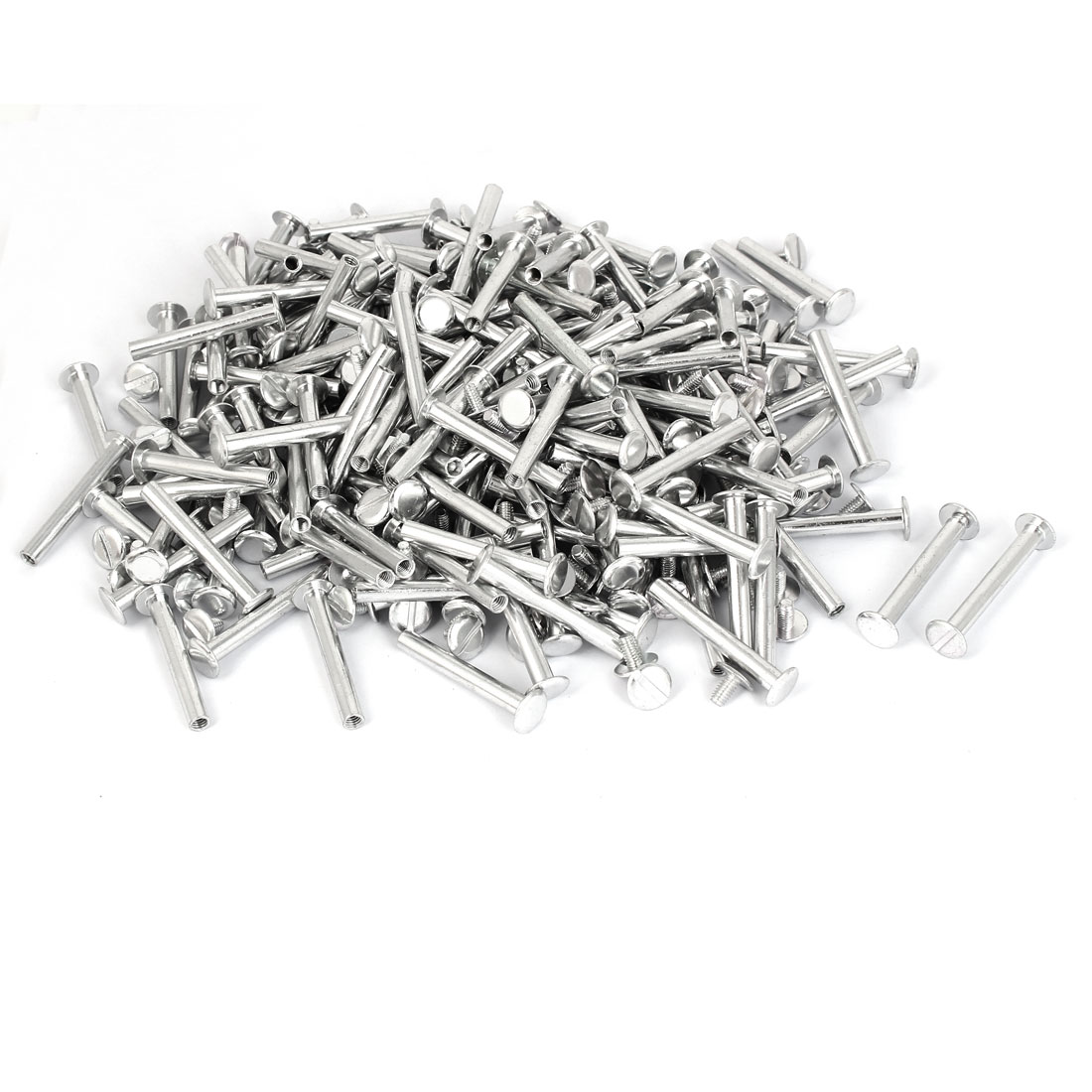 M5x38mm Aluminum Chicago Screws Binding Posts Silver Tone 200pcs