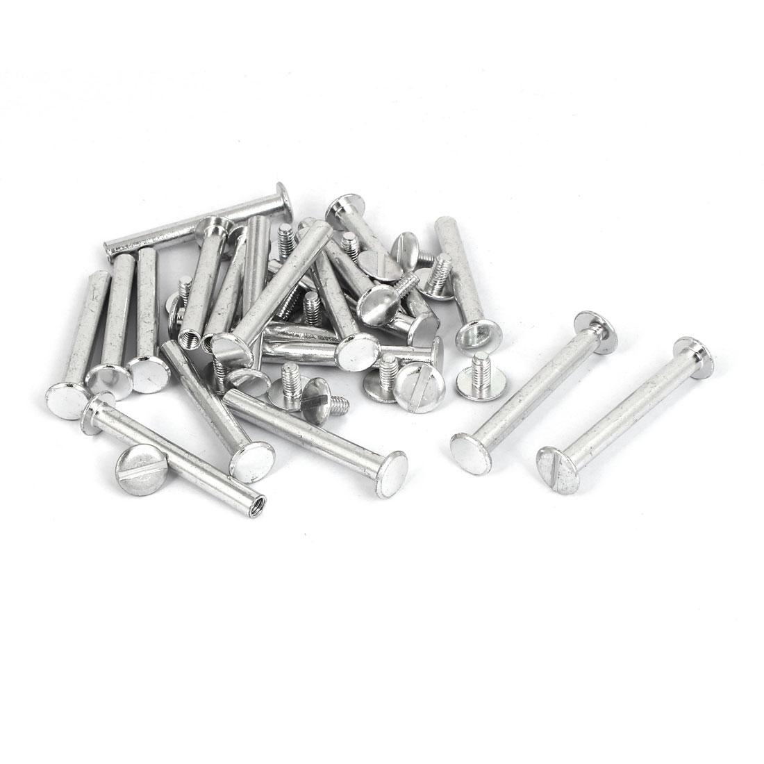M5x40mm Photo Albums Scrapbook Aluminum Binding Screw Post Silver Tone 20 Pcs