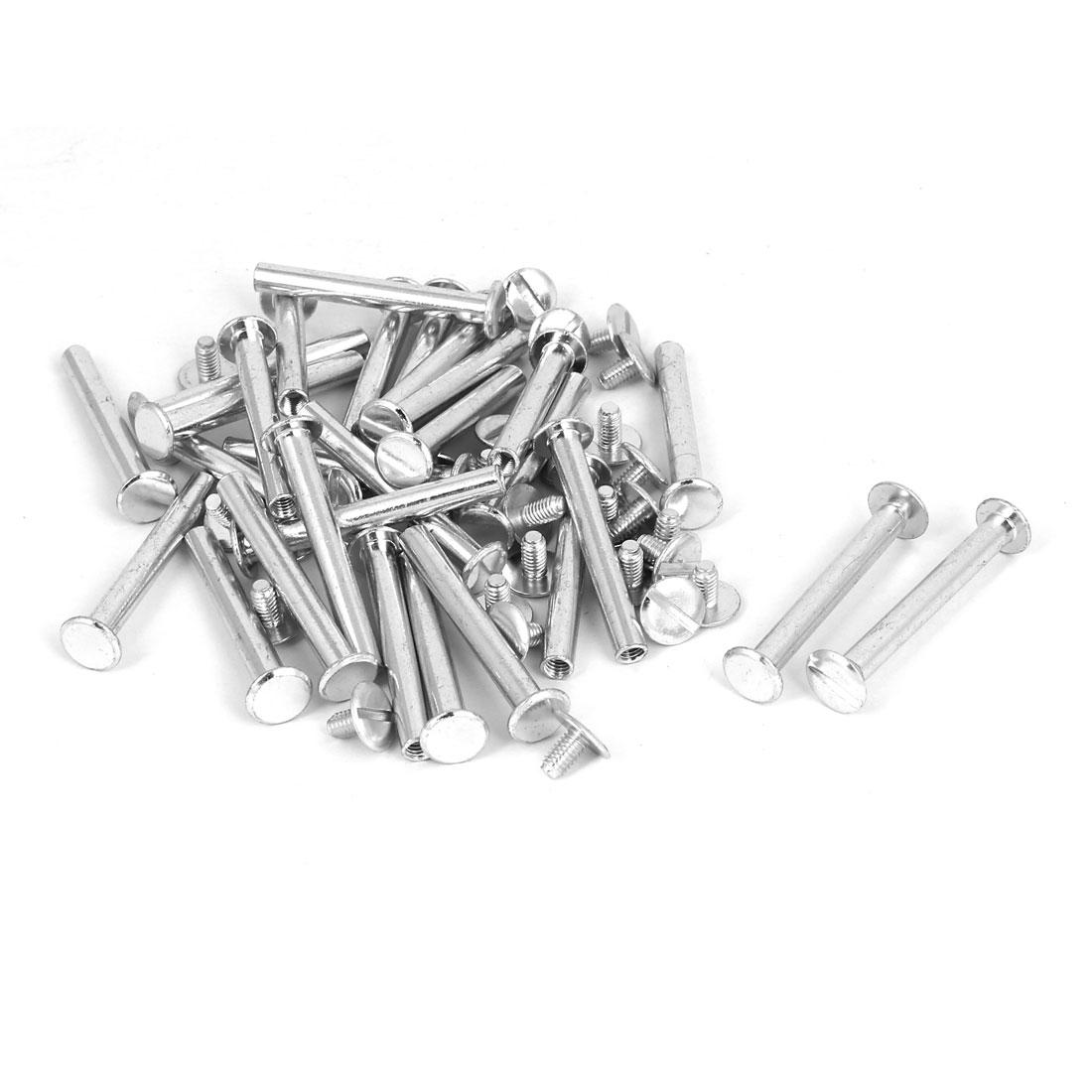M5x40mm Photo Albums Scrapbook Aluminum Binding Screw Post Silver Tone 30 Pcs