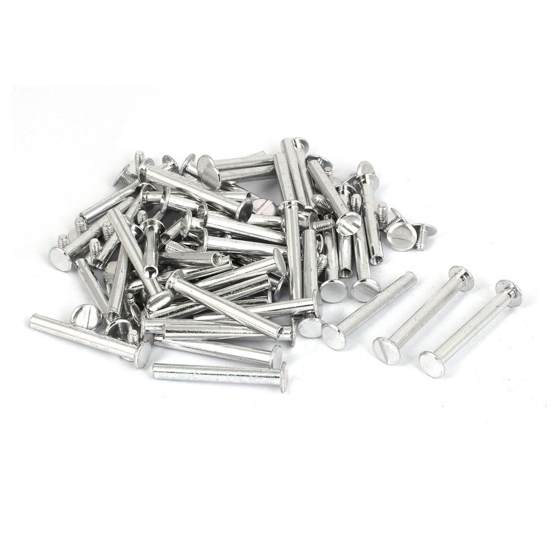 M5x40mm Photo Albums Scrapbook Aluminum Binding Screw Post Silver Tone 50 Pcs