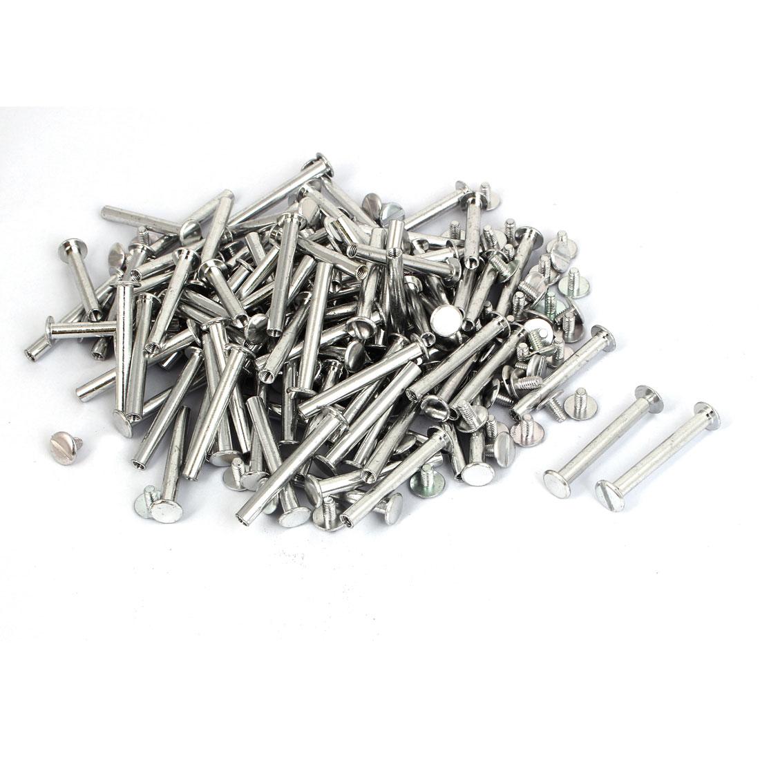 M5x40mm Photo Albums Scrapbook Aluminum Binding Screw Post Silver Tone 100 Pcs