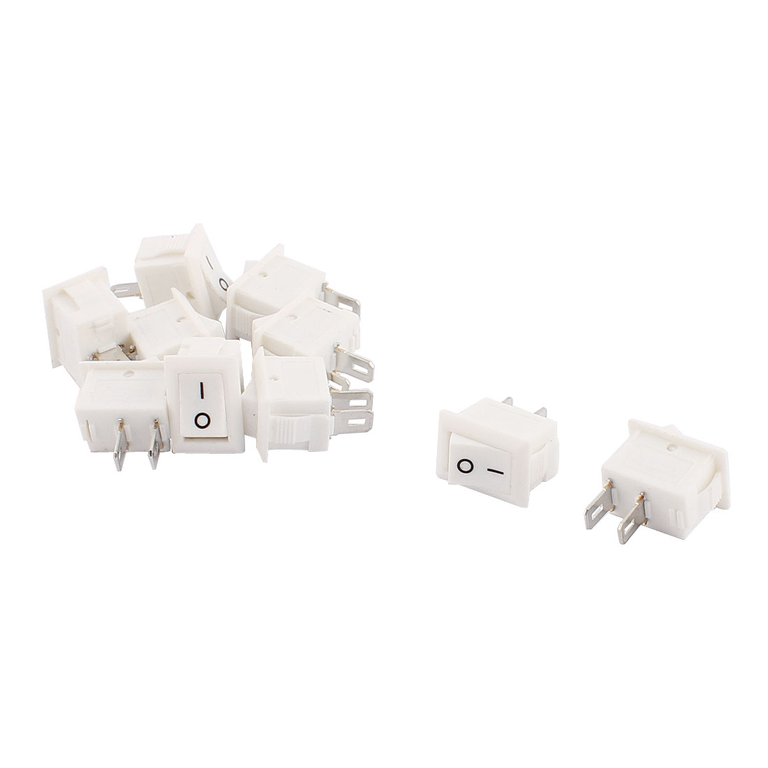10 Pcs KCD11 3A 250VAC Snap In Mounting 2 Position SPST Rocker Switch White
