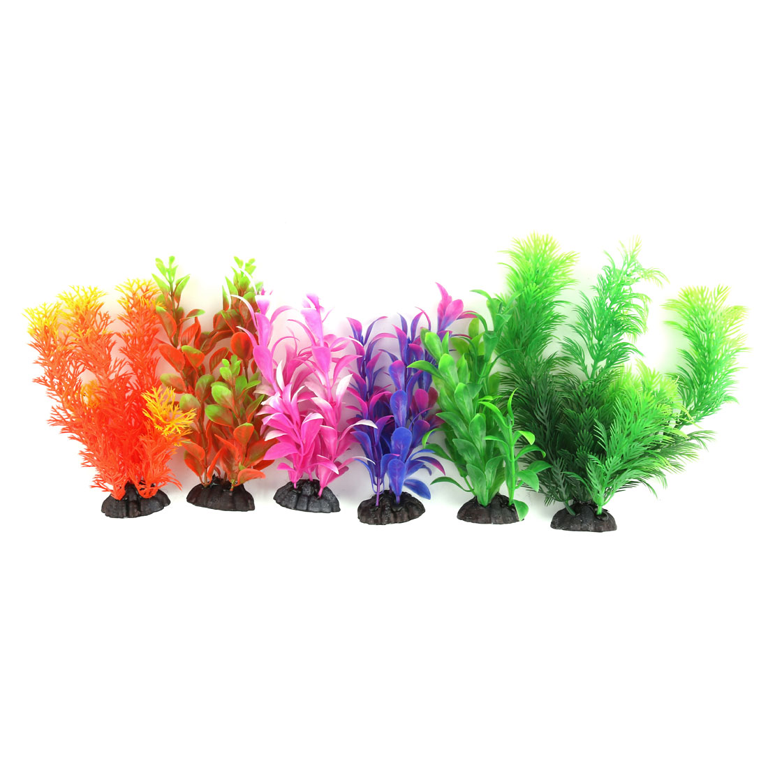 Aquarium Fish Tank Artificial Landscape Plant Grass Decoration Colorful 6 in 1