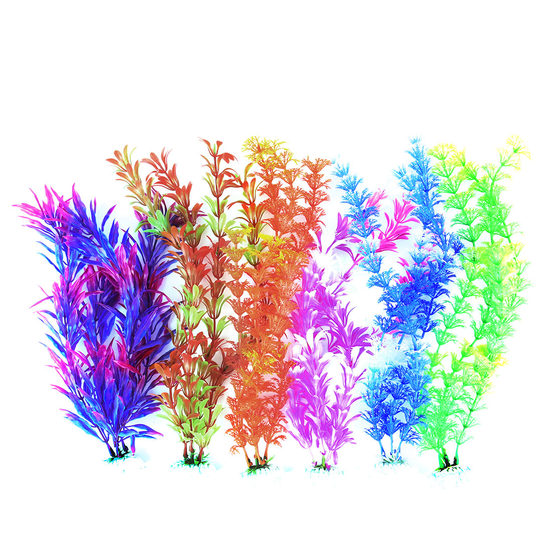 Aquarium Fish Tank Plastic Artificial Plant Grass Decoration Assorted Color 6 in 1