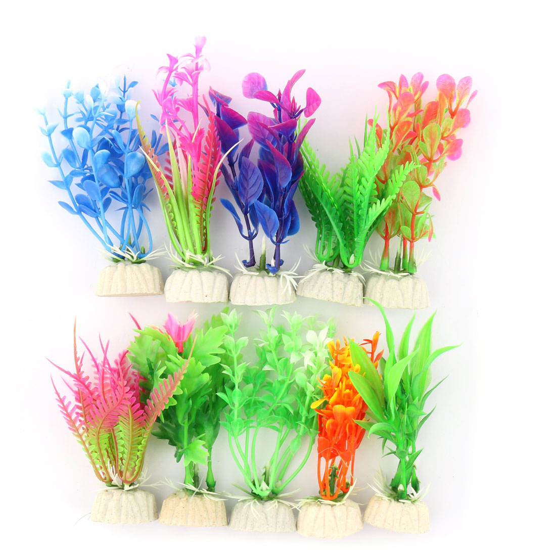 Aquarium Fish Tank Plastic Emulational Plant Grass Ornament Assorted Color 10 Pcs