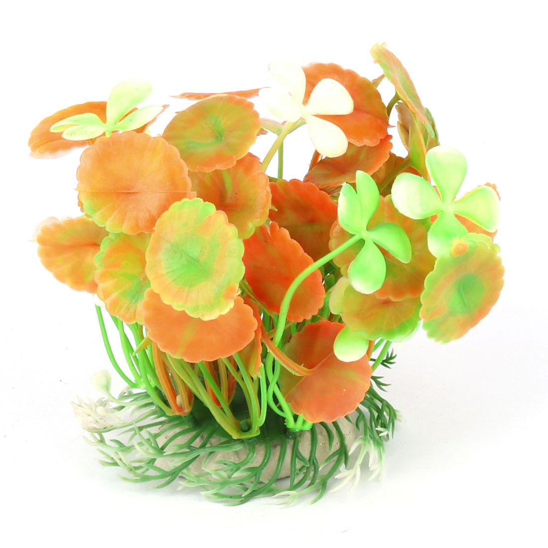 Aquarium Fish Tank Plastic Artificial Plant Grass Decoration Light Green Orange 11cm High