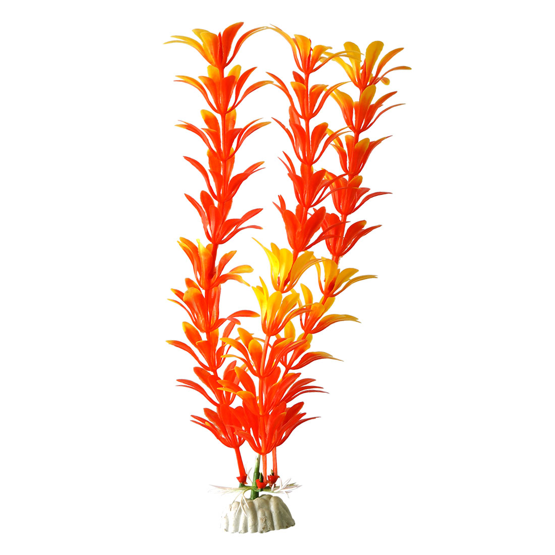 Aquarium Fish Tank Ceramic Base Plastic Artificial Plant Decor Yellow Orange